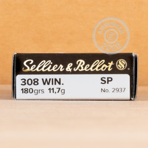A photograph detailing the 308 / 7.62x51 ammo with soft point bullets made by Sellier & Bellot.