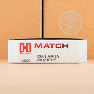 Photo detailing the 338 LAPUA MAGNUM HORNADY MATCH 250 GRAIN HPBT (20 ROUNDS) for sale at AmmoMan.com.