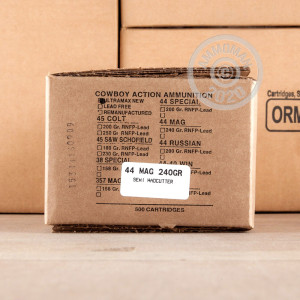 Photo of 44 Remington Magnum Lead Semi-Wadcutter (LSWC) ammo by Ultramax for sale at AmmoMan.com.