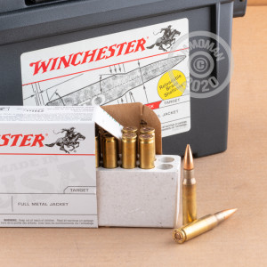 A photo of a box of Winchester ammo in 308 / 7.62x51 that's often used for training at the range.