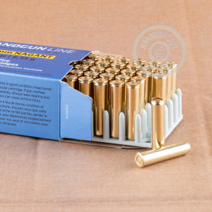 A photograph detailing the 7.62mm NAGANT ammo with full metal jacket flat-point bullets made by Prvi Partizan.