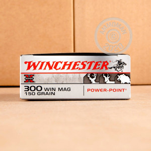 A photograph of 20 rounds of 150 grain 300 Winchester Magnum ammo with a Power-Point (PP) bullet for sale.