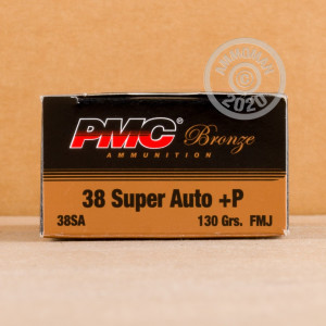 An image of 38 Super ammo made by PMC at AmmoMan.com.
