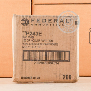 A photo of a box of Federal ammo in 243 Winchester.