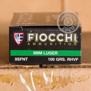 A photograph detailing the 9mm Luger ammo with frangible bullets made by Fiocchi.
