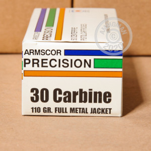 Image of .30 Carbine ammo by Armscor that's ideal for training at the range.
