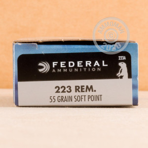 Photo detailing the .223 REM FEDERAL POWER-SHOK 55 GRAIN SP (20 ROUNDS) for sale at AmmoMan.com.