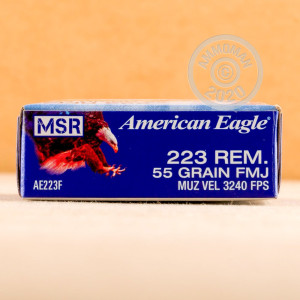 Photo detailing the 223 REM FEDERAL AMERICAN EAGLE 55 GRAIN FMJBT (20 ROUNDS) for sale at AmmoMan.com.