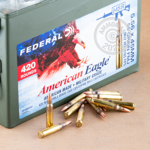 Image of the 5.56X45 FEDERAL AMERICAN EAGLE 55 GRAIN FMJBT XM193 (420 ROUNDS IN AMMO CAN) available at AmmoMan.com.