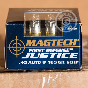 Image detailing the nickel-plated brass case and boxer primers on the Magtech ammunition.