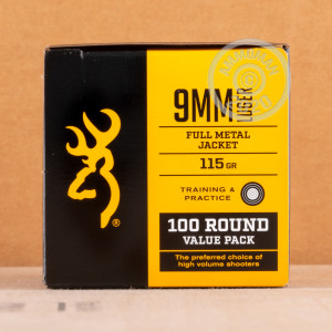 Image of 9mm Luger ammo by Browning that's ideal for training at the range.