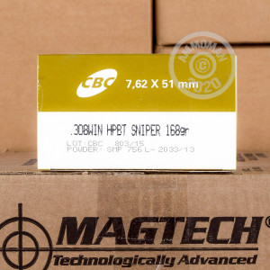 Photo of 308 / 7.62x51 Hollow-Point Boat Tail (HP-BT) ammo by Magtech for sale.