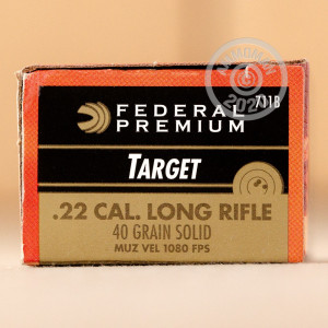 Photograph of .22 Long Rifle ammo with Lead Solid (LS) ideal for training at the range.