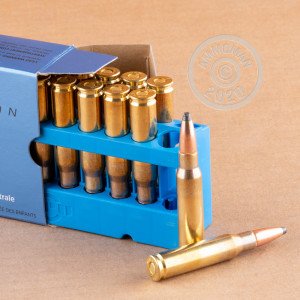 Image of 308 / 7.62x51 ammo by Prvi Partizan that's ideal for big game hunting, hunting wild pigs, whitetail hunting.