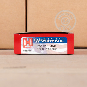 Image of 300 Winchester Magnum ammo by Hornady that's ideal for whitetail hunting.