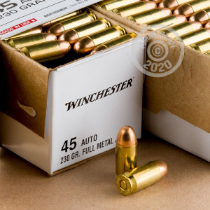 A photograph of 200 rounds of 230 grain .45 Automatic ammo with a FMJ bullet for sale.