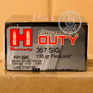 A photograph detailing the 357 SIG ammo with JHP bullets made by Hornady.