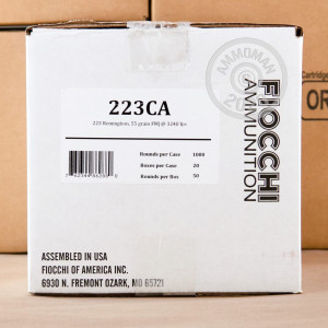 Photo detailing the 223 REMINGTON FIOCCHI CANNED HEAT 55 GRAIN FMJ (1000 ROUNDS) for sale at AmmoMan.com.