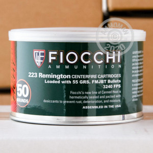 Image of the 223 REMINGTON FIOCCHI CANNED HEAT 55 GRAIN FMJ (1000 ROUNDS) available at AmmoMan.com.