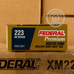 Photograph showing detail of .223 REM FEDERAL LONG RANGE 80 GRAIN HPBT (500 ROUNDS)