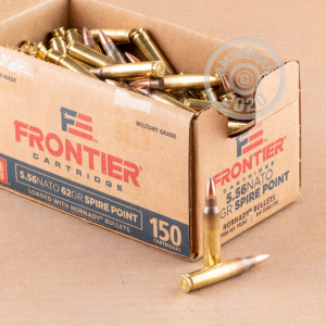 Photo detailing the 5.56X45 HORNADY FRONTIER 62 GRAIN SP (150 ROUNDS) for sale at AmmoMan.com.