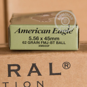 Photo detailing the 5.56 LAKE CITY 62 GRAIN FULL METAL JACKET (500 ROUNDS) for sale at AmmoMan.com.