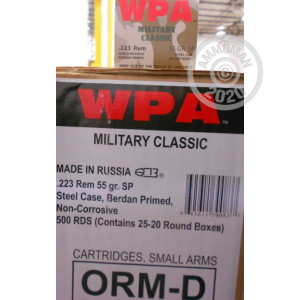 Photograph showing detail of 223 Rem - 55 gr SP - Wolf WPA MC - 500 Rounds