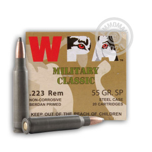 Photo detailing the 223 Rem - 55 gr SP - Wolf WPA MC - 20 Rounds for sale at AmmoMan.com.