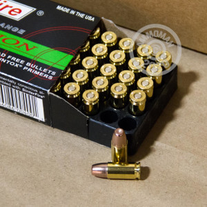 Image detailing the brass case and boxer primers on the SinterFire ammunition.