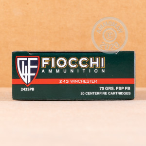 Image of 243 Winchester ammo by Fiocchi that's ideal for whitetail hunting.