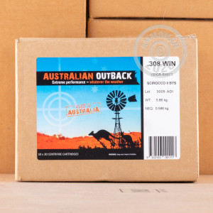 Image of 308 / 7.62x51 ammo by Australian Outback that's ideal for whitetail hunting.
