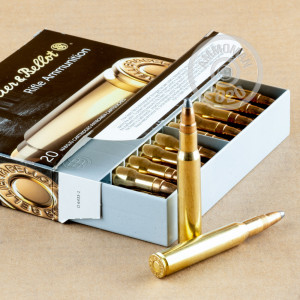 Image of 30.06 Springfield ammo by Sellier & Bellot that's ideal for hunting wild pigs, whitetail hunting.
