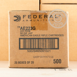 Image of the 223 REMINGTON FEDERAL AMERICAN EAGLE 50 GRAIN JHP (20 ROUNDS) available at AmmoMan.com.