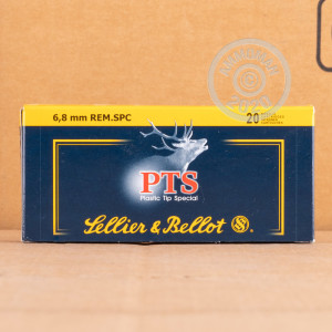 Image of Sellier & Bellot 6.8 SPC rifle ammunition.