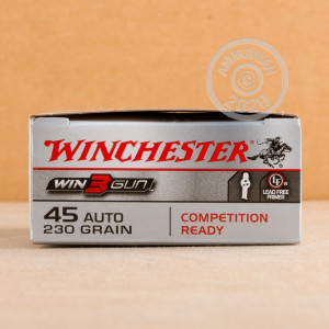 Image of .45 Automatic ammo by Winchester that's ideal for precision shooting, training at the range.