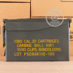 A photograph of 1080 rounds of 110 grain .30 Carbine ammo with a FMJ bullet for sale.