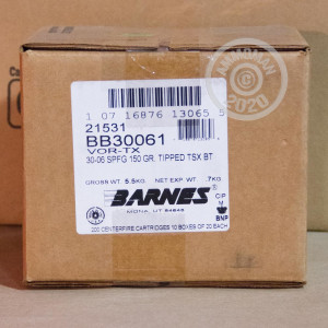 An image of 30.06 Springfield ammo made by Barnes at AmmoMan.com.