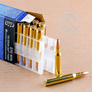 A photograph of 20 rounds of 130 grain 270 Winchester ammo with a soft point bullet for sale.
