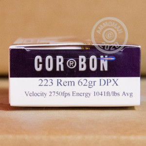 A photo of a box of DPX Ammunition ammo in 223 Remington.