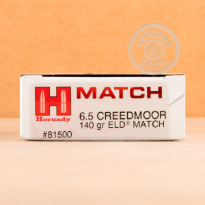Photograph showing detail of 6.5MM CREEDMOOR HORNADY MATCH 140 GRAIN ELD MATCH (20 ROUNDS)