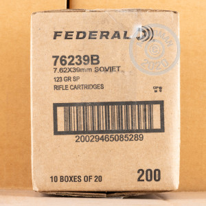 A photo of a box of Federal ammo in 7.62 x 39.