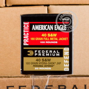 Image of bulk .40 Smith & Wesson ammo by Federal that's ideal for home protection, training at the range.