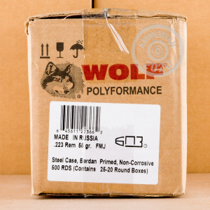 Image of 223 REM WOLF WPA 55 GRAIN FMJ (500 ROUNDS)