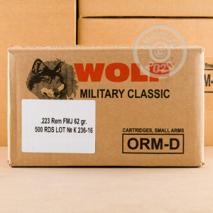 Photo detailing the 223 REM WOLF MILITARY CLASSIC 62 GRAIN FMJ (20 ROUNDS) for sale at AmmoMan.com.