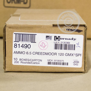 Image of the 6.5MM CREEDMOOR HORNADY SUPERFORMANCE 120 GRAIN GMX (20 ROUNDS) available at AmmoMan.com.
