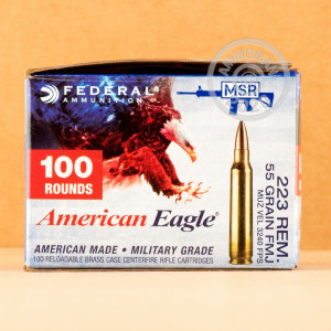 Image of 223 REMINGTON FEDERAL AMERICAN EAGLE 55 GRAIN FMJ (100 ROUNDS)
