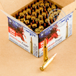 Photograph showing detail of 223 REMINGTON FEDERAL AMERICAN EAGLE 55 GRAIN FMJ (100 ROUNDS)