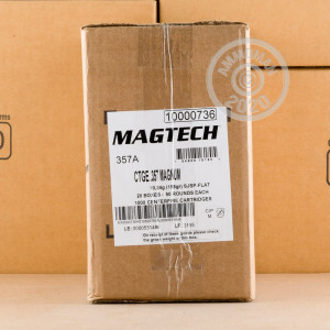 Image of 357 Magnum ammo by Magtech that's ideal for home protection, hunting varmint sized game.