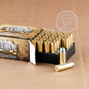A photograph of 50 rounds of 200 grain .45 COLT ammo with a Lead Flat Nose bullet for sale.