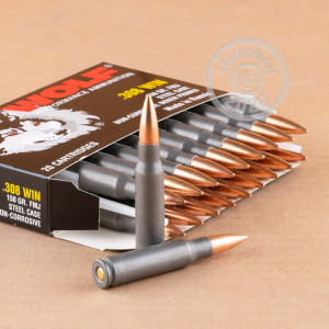 An image of 308 / 7.62x51 ammo made by Wolf at AmmoMan.com.